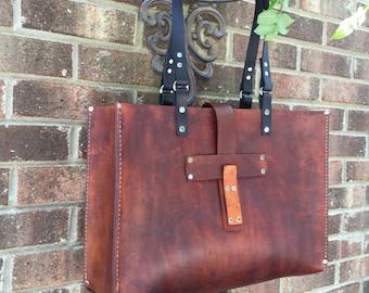 Leather Tote* Oak Saddle Tote* Leather Handbag* Hobo Bag* Market Bag* Handmade in the USA