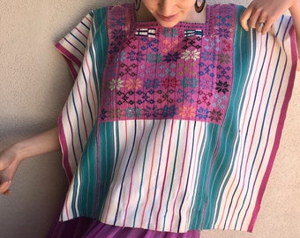 Chiapas handwoven huipil poncho turquoise pink stripe Cancuc Highland Maya boho Mexican authentic -