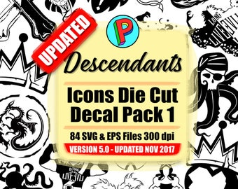 Descendants 2 - Icons Die Cut Decal Pack 1 - 42 Designs 84 EPS and SVG files 300 dpi - UPDATED Version 5.0 November 2017