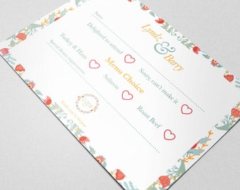 Wedding RSVP: Floral Pastel Personalised Stationery - Wedding Invite. Your Special Day