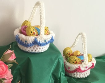 Easter basket etsy crocheted mini easter basket includes chocolate chicks and chocolate eggs uk seller negle Image collections