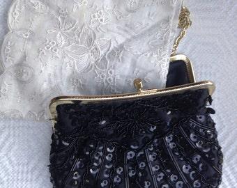 VINTAGE Black Sequin Purse