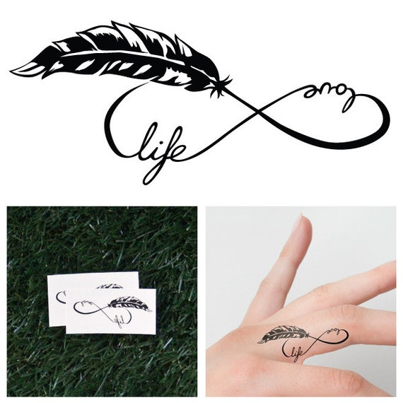 Infinity Feather Symbol Temporary Tattoo Set Of 2