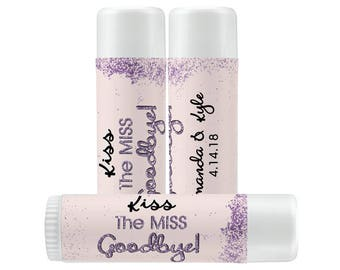 Lip Balm Labels   Personalized Lip Balm Labels - Kiss the Miss Goodbye labels  1 Sheet of 12 Lip Balm Labels - Custom Lip Balm Labels