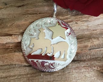 Cutting Horse pendent with star/ Sterling Silver/ 1/20th 12kt Gold Overlay Star/ Sterling silver/ hand engraved
