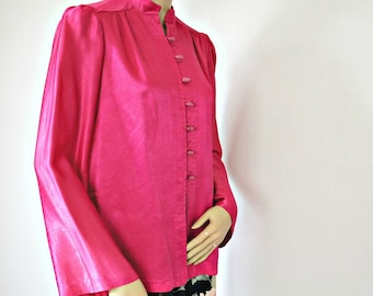 Vintage Jacket Oriental Style Fluorescent Pink Blouse Nehru 1970's Size Small