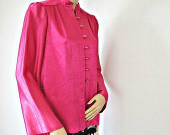 Veste Vintage Style Oriental Blouse rose fluo Nehru 1970 ' s petite taille