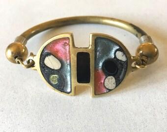 Vintage Boho Enameled Artisan Bracelet Studio Jewelry