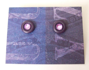LILAC & LAVENDER Purple Post Earrings - Button Jewelry - Repurposed Vintage