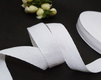 10 yds-100 yds White Cotton Twill Tape (1 Arrow) Wrapping Binding Tape Bias Tape 3/4 inch / 20mm width TR10