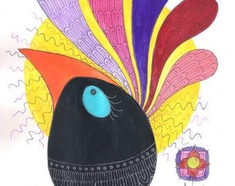 Rainbow bird art, black bird art, bird watercolor, bird painting, animal wall art, animal art, animal watercolor, birds wall art, birds art