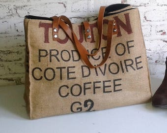 recycled coffee bag tote bag