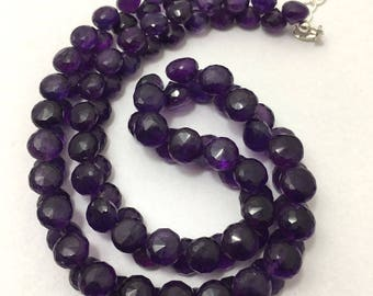 Natural Amethyst Faceted Onion Beaded Necklace, 8mm to 9mm, 16.5 inches Necklace, Purple Beads, Gemstone Beads, Semiprecious Stone Beads