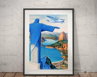 rio de janeiro, rio de janeiro travel poster, wall decor, vintage