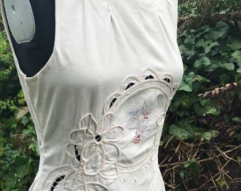 One of a Kind Wedding Dress/Alternative Bridal Gown/Cotton Bridal Gown