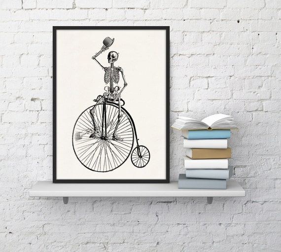 Wall art Skeleton on a bike. Funny Skeleton, Anatomy art, Anatomical art, Wall art, Wall decor, Anatomy, Wholesale, Doctors gft, SKA014WA4
