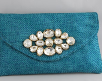Turquoise Clutch with premium Jute and Traditional Kundan Embellishment