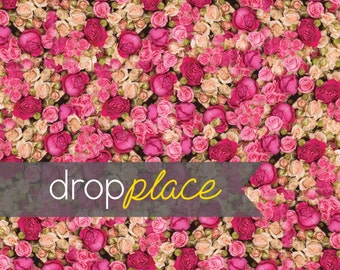 Flower Backdrop Roses Pink Floral Wall Photography Background Floor Drop Wedding photo booth prop Newborn  (Multiple Sizes )