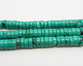 "16""  Turquoise  Heishi  Beads  Gemstone  Blue  Green  6mm"