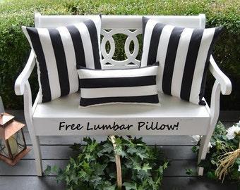 "Set of 2 - 20"" Indoor / Outdoor Decorative Throw Pillows + FREE LUMBAR PILLOW - Black & White Stripe"