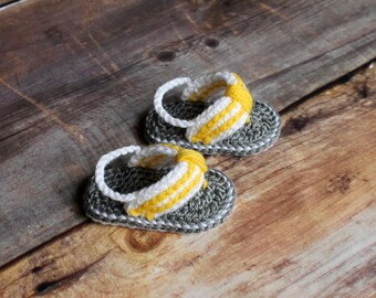 Baby Flip Flops Sandals Boys Girls newborn infant shoes booties shower gift grey yellow gray white knit crochet summer spring photo prop