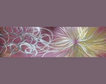 Modern abstract metal wall art titled Confused Nova by R Toomer. Home Decor. Pink/gold/silver