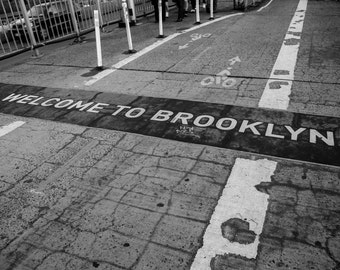 New York photography, Brooklyn sign, New York City, black and white photography, welcome to brooklyn