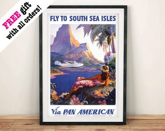 SOUTH PACIFIC POSTER: Vintage South Seas Travel Advert Reproduction Art Print Wall Hanging