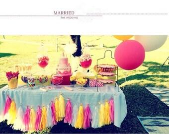 10pcs Tissue Paper Tassels, Tassel Garland, Custom Banner Garland Choose your own colors Wedding Photo Backdrop, Bridal Shower, Bachelorette