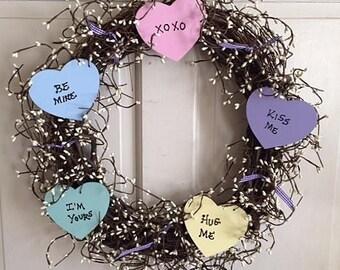 Valentine Conversation Heart Wreath