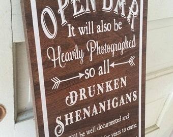 Open Bar Wedding Sign - Dark Stained Wedding Sign - Rustic Wedding Decor 10x20