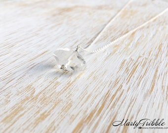 Dainty Quartz Necklace, 100% Sterling Jewelry, April Birthstone, Clear Quartz Jewelry, Silver Necklace Healing Crystal Jewelry Gift for Her