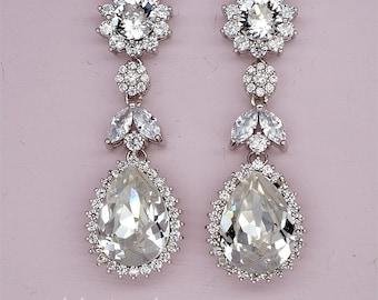 Rhinestone Wedding Earrings, Chandelier Bridal Earrings Swarovski Crystal Earrings Crystal Drop Dangle Earrings Strass Hochzeits Ohrringe