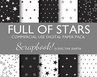INSTANT DOWNLOAD Full Of Stars Wallpaper Digital Collage Sheets 12x12 inch Set of 10 Digital Papers Black and White Commercial Use