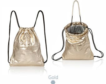 Gold leather backpack purse- multi way sack leather bag SALE gold leather tote bag- drawstring backpack metallic rucksack metallic backpack