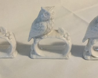 3 Ardalt Japan Figural Ceramic Owl Napkin Ring Holders