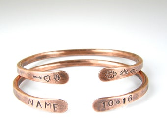 Personalized Copper Wire Bracelet, Mens or Womens Stamped Copper Bracelet, Rustic Antiqued Copper Bangle, 6 Gauge Wire