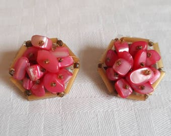 50's Pink (possibly) Mother of Pearl clip on with Bugal Beads