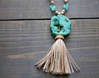 Druzy and Chalcedony Statement Necklace, Studded Tassel, Green Druzy, Blue Chalcedony