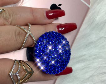 Bling PopSocket Cell Phone Grip - Blue Swarovski Bling Cell Phone Stand Custom Handmade Swarovski Crystal Phone Accessories