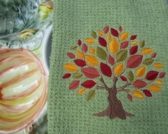 Autumn Elegance Tree (Olive) - Microfiber Waffle Weave Kitchen Hand Towel