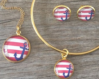 ANCHOR STRIPES JEWELRY, Anchor Necklace, Anchor Bracelet, Anchor Earrings, Anchor Stripes Keychain, Nautical, Red White and Blue, 4th July