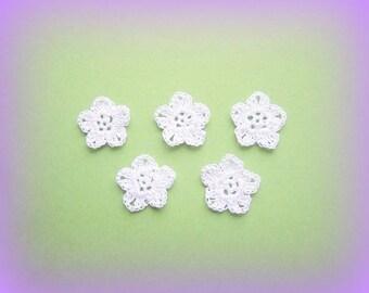 X 5 white is 3.5 cm unique handmade crochet flowers appliques crochet