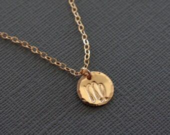 Virgo Zodiac Necklace - Gold Filled  Zodiac Sign Jewelry Hand Stamped