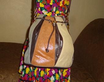 Multi Colored Leather Mazzantia Drawstring Bucket Bag