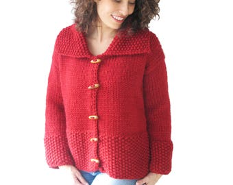 Red Hand Knitted Jacket