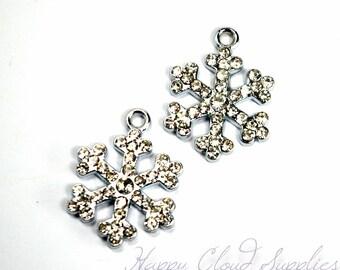 Silver and Rhinestone Snowflake Charms… 2pcs