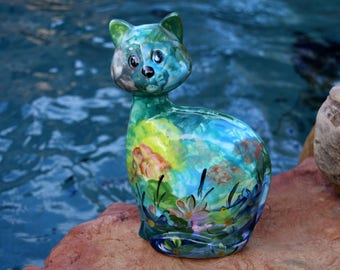 Turov Cat - Ceramic Handpainted Cat Art - Russian Anatoly Turov Art - Cat Lover Gift - Impressionism Cat Figurine - Live in Moment Vintage