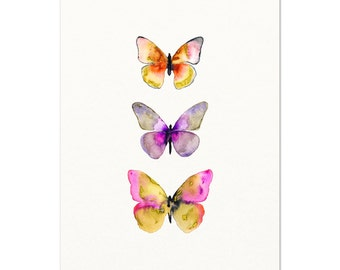 Watercolor Butterfly Poster. Pink / Purple Watercolor Butterfly Art Print. Bright Colored Nature Art. Unique Kids Room Art. Modern Nursery.