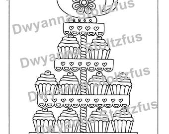 Tea Party Cupcakes Coloring Page JPG